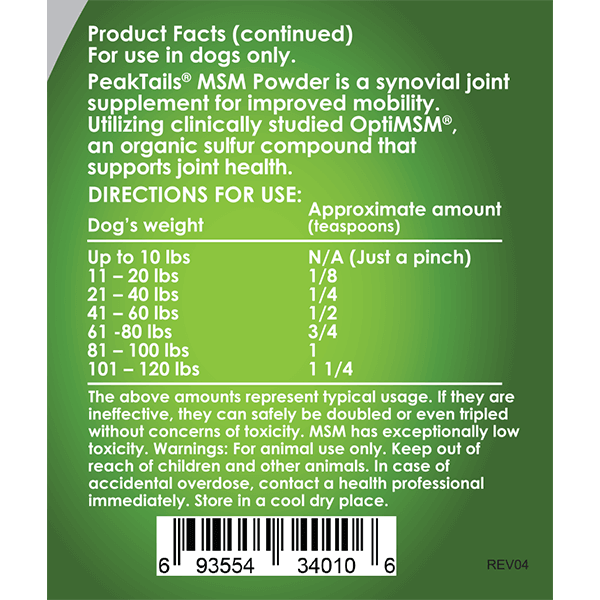 PeakTails MSM Powder for Dogs Instructions