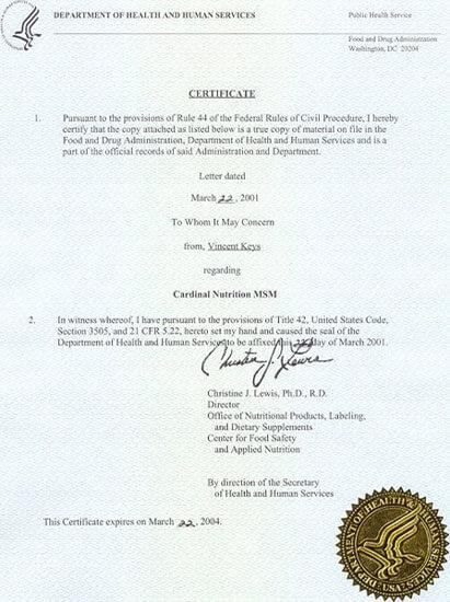 FDA Certification